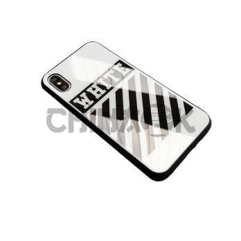 Чехол Off White Temper Case Белый iPhone 7/8/7+/8+/X/XS/Xr/XS Max